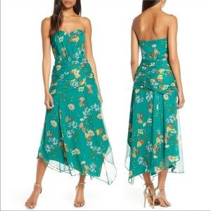Harlyn NWT Green floral romantic strapless dress